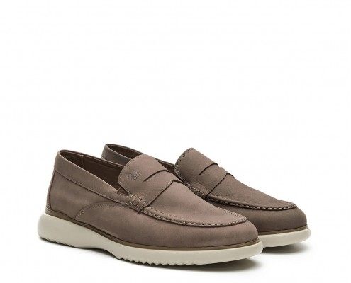 Nubuck leather moccasin with antifaz ornament
