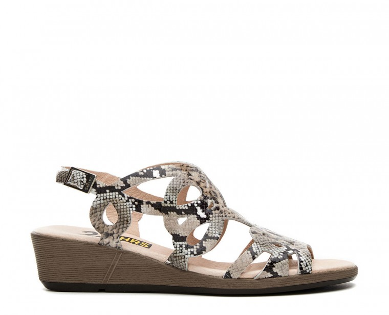 Leather snake finish sandal with buckle closure