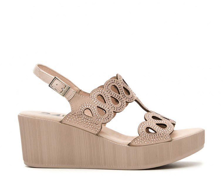 Nubuck leather sandal with strass ornament and buckle closure