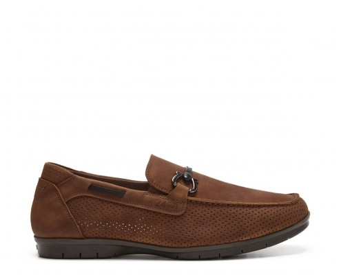 Nubuck leather moccasin with stapes ornament