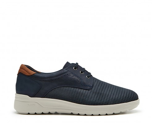 Nubuck leather perforated blucher