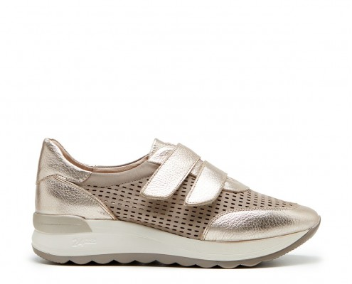 Perforated sneaker nubuck leather and velcro closure
