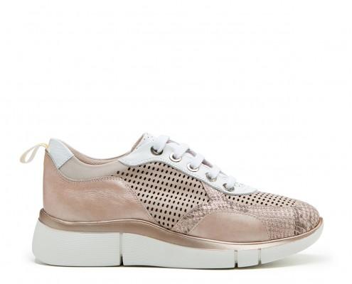 Sneaker combinado pieles y perforado